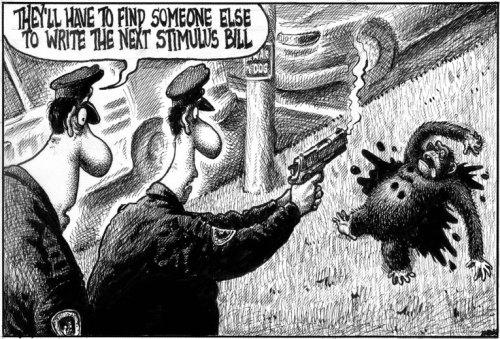 New York Post, 2/18/09, Cartoonist Sean Delonas